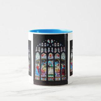 Nativity on a stained glass window Two-Tone coffee mug