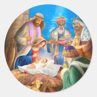 Nativity or Jesus x-mas image for christmas cards Classic Round Sticker