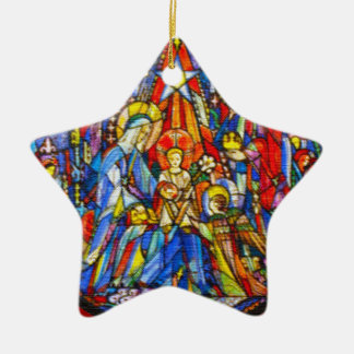 Nativity Painted Stained Glass Style Ceramic Star Ornament