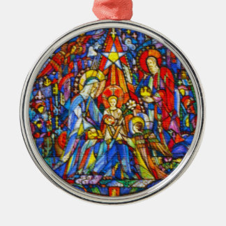 Nativity Painted Stained Glass Style Silver-Colored Round Ornament