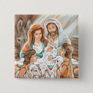 Nativity Painting with Little Shepherd Boys 2 Inch Square Button