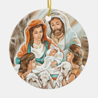 Nativity Painting with Little Shepherd Boys Double-Sided Ceramic Round Christmas Ornament