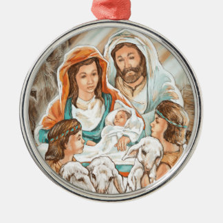 Nativity Painting with Little Shepherd Boys Silver-Colored Round Ornament
