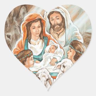 Nativity Painting with Little Shepherd Boys Heart Sticker