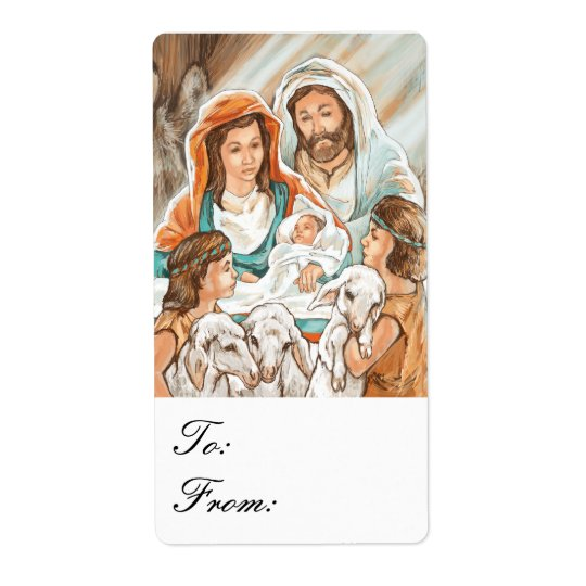 Nativity Painting with Shepherd Boys Gift Tags Shipping Label