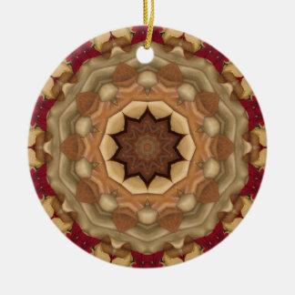 Nativity Rose Round Ceramic Ornament