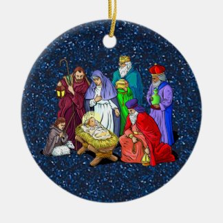 nativity round ceramic ornament