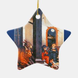nativity scene ceramic star ornament
