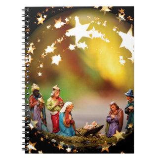 Nativity Scene Crib Virgin Mary Infant Jesus Stars Notebook