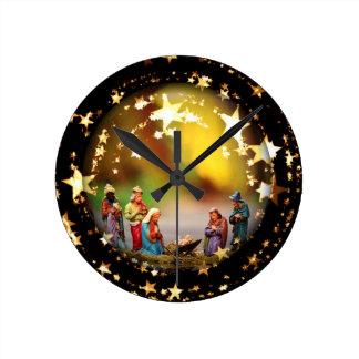 Nativity Scene Crib Virgin Mary Infant Jesus Stars Wall Clock