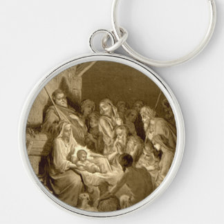 Nativity Scene Gifts for Christmas Silver-Colored Round Keychain