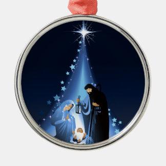 Nativity scene Silver-Colored round ornament