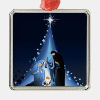 Nativity scene Silver-Colored square ornament
