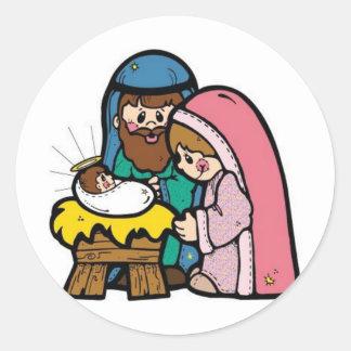 Nativity scene with baby Jesus Classic Round Sticker