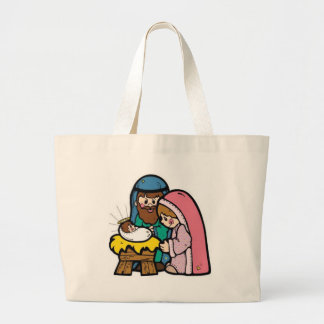 Nativity scene with baby Jesus Large Tote Bag
