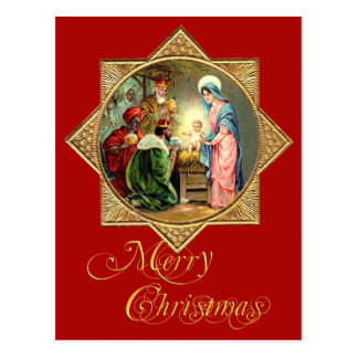 Nativity Scene within a Gold, Embossed Star Postcard