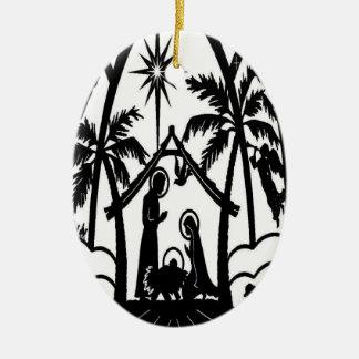 Nativity silhouette ceramic oval ornament