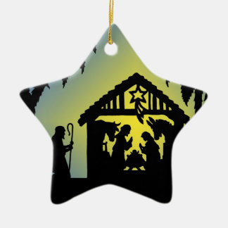 Nativity Silhouette Joy to the World Ceramic Ornament