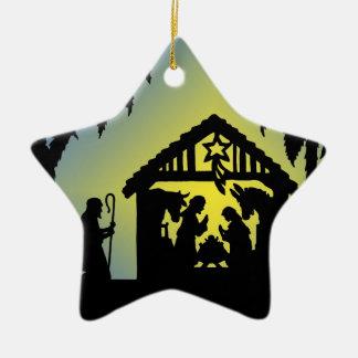 Nativity Silhouette Joy to the World Ceramic Star Ornament