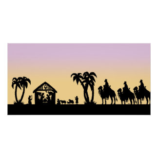 Nativity Silhouette Wise Men on the Horizon Poster