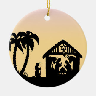 Nativity Silhouette Wise Men on the Horizon Round Ceramic Ornament