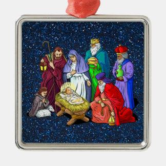 nativity Silver-Colored square ornament