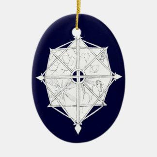 Nativity Snowflake Ceramic Oval Ornament