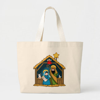 Nativity Stable Scene Large Tote Bag
