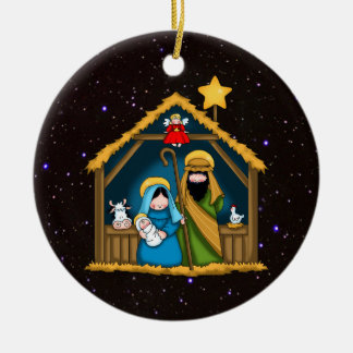 Nativity Stable Scene Round Ceramic Ornament