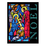 Nativity Stained Glass NOEL with Lamb and Shepherd Postcard