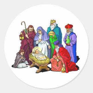 Nativity_Stickers Classic Round Sticker