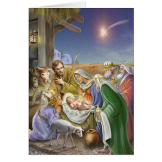 Nativity story with apostles, Jesus, Mary and Jose Card