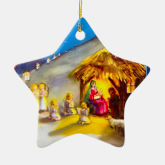 Nativity with angels ceramic star ornament