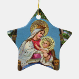 Nativity With Madonna And Child Ceramic Star Ornament