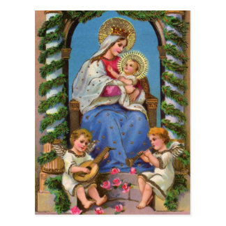 Nativity With Madonna And Child Postcard