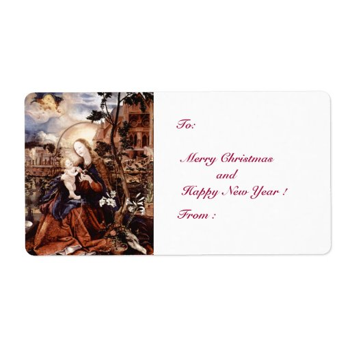 NATIVITY WITH WHITE LILLES - MAGIC OF CHRISTMAS CUSTOM SHIPPING LABELS