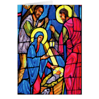 Nativity Zoom Stained Glass Christmas Card
