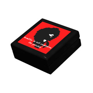 Natural afro chick illustration trinket boxes