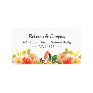 Natural Autumn Peach Watercolor Floral Themed Label