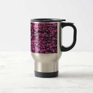Natural background of purple carnation flowers travel mug