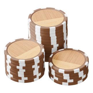 Natural Bamboo Border Wood Grain Look Poker Chips Set