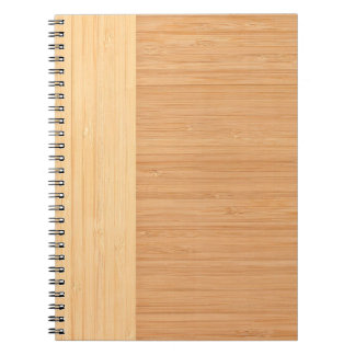 Natural Bamboo Border Wood Grain Look Spiral Notebook