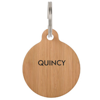 Natural Bamboo Wood Grain Look Pet Name Tags