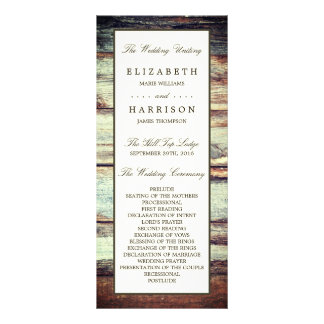 Natural Brown Oak Wedding Program