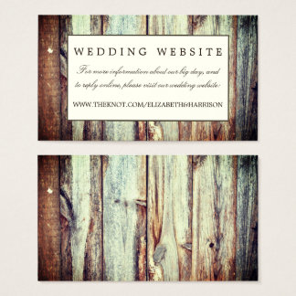 Natural Brown Oak Wedding Website Business Card