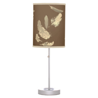 Natural brown with sepia feathers lamp