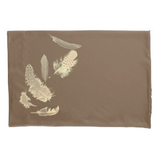 Natural brown with sepia feathers pillowcase