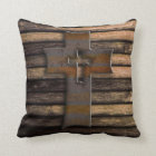 Natural Brown Wooden Cross Throw Pillow