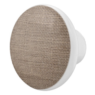 Natural Burlap Knob White
