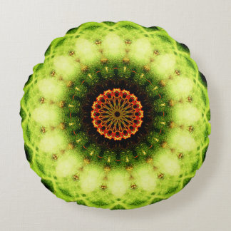 Natural Cactus Texture Mandala Round Pillow